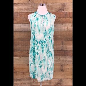 Magaschoni Women's Silk Teal White Abstract Dress
